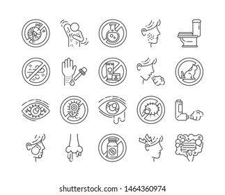 Allergy and symptoms line black icons set. Dermatological, infectious disease. Food intolerance, poisoning. Flu, influenza. Sign for web page, mobile app,. Vector isolated element. Editable stroke.