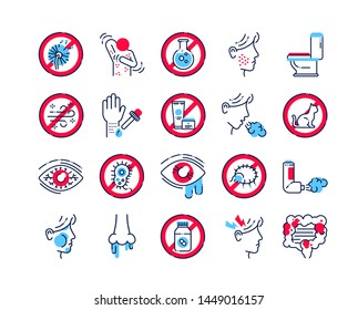 Allergy and symptoms line color icons set. Dermatological, infectious disease. Food intolerance, poisoning. Flu, influenza. Sign for web page, mobile app. Vector isolated element. Editable stroke.