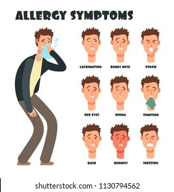 Allergy symptoms with sneezing cartoon man. Medical vector illustration. Disease character, symptom allergic, red eyes and itching