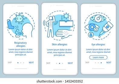 Allergy symptoms types onboarding mobile app page screen with linear concepts. Skin, eye, respiratory allergies walkthrough steps graphic instructions. UX, UI, GUI vector template with illustrations