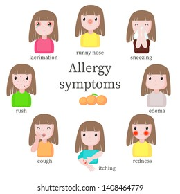 Allergy symptoms, vector flat isolated illustration. Girl suffering from allergic reaction symptoms such as runny nose, sneezing edema redness itching cough rash and lacrimation.