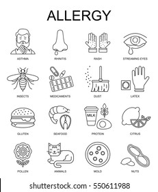 Allergy symptoms vector linear illustration. The most common allergens black on white line style icons set.  Medicine and health symbols.