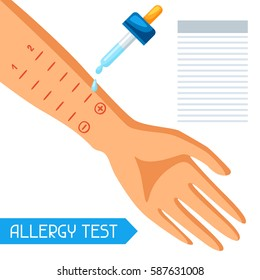 Allergy test. Vector illustration for medical websites advertising medications.