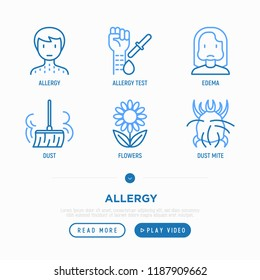Allergy thin line icons set: dust, dust mite, pollen, allergy test, edema. Modern vector illustration.