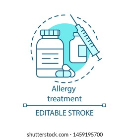 Allergy treatment concept icon. Vaccination and immunization idea thin line illustration. Allergic diseases prevention. Pills bottle, vaccine, syringe. Vector isolated outline drawing. Editable stroke
