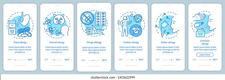 Allergy types onboarding mobile app page screen with linear concepts. Food, animal, clothes, pollen allergies walkthrough steps graphic instructions. UX, UI, GUI vector template with illustrations