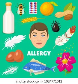 Allergy vector allergen food and allergic milk egg peanut and fish illustration of allergenicity set face of character with rash skin isolated on background