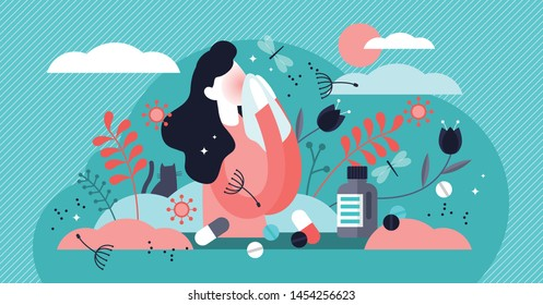 Allergy vector illustration. Flat tiny dust asthmatic intolerance person concept. Illness with cough, cold and sneeze symptoms. Allergen drugs, food and air reaction. Pharmacy therapy and tissue help.