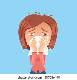 Allergy woman character sneeze. Vector flat cartoon illustration