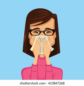 Allergy woman. Vector flat illustration