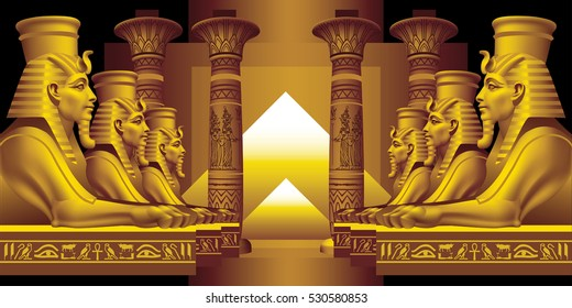 Alley of Sphinxes on a black background
