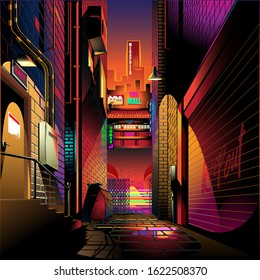 Alley at sunset vector illustration background