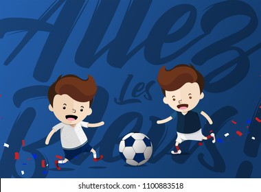 """Allez Les Bleus!"" for ""Go Blue!"" to cheer up the french national football team with two cartoon design represent the France Football jersey Home Kit and Away Kit costumes for World Cup 2018"