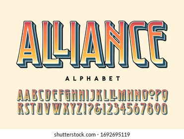 Alliance alphabet; a lettering style with a 20th century heavy metal rock vibe, but with roots in art deco style and the arts and crafts movement. This type font has a handful of alternate characters.