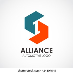 Alliance automotive of connection abstract vector and logo design or template workshop business icon of company identity symbol concept