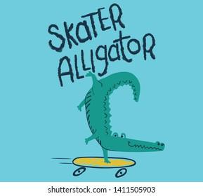 alligator cartoon on skateboard.