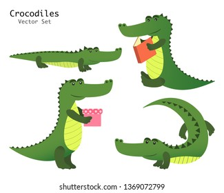 Alligator collection vector set. Crocodiles characters with book and gift.