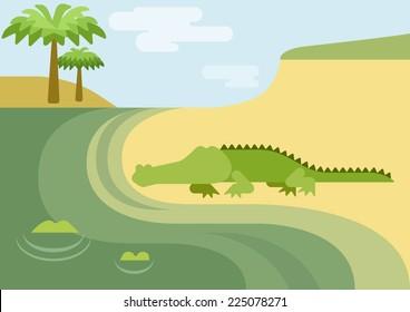 Alligator gator crocodile habitat flat design cartoon vector wild animals reptiles. Flat zoo nature children collection.