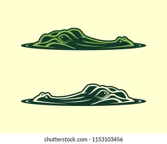Alligator head emerging from water vector icon