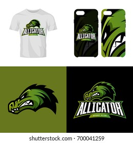Alligator head sport club isolated vector logo concept. Modern professional team badge mascot design. Premium quality wild reptile t-shirt tee print illustration. Smart phone case accessory emblem.