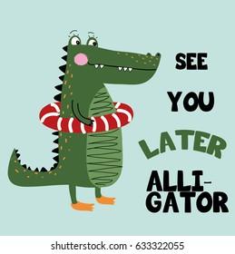 alligator illustration vector for print
