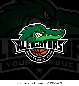 Alligator mascot for a basketball team on a dark background. Vector illustration.