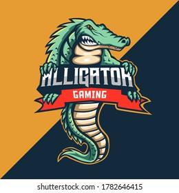 Alligator Mascot Logo. Vector Illustration. Perfect for gaming logo, t-shirt/apparel, merchandise, pin design, etc