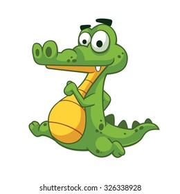 Alligator running vector art and illustration.
