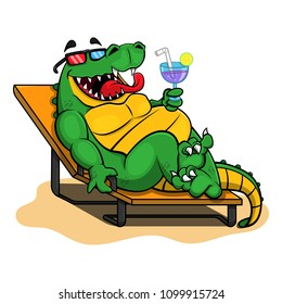 Alligator sit on lounge chairs and enjoy a drink Cartoon Vector