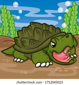 Alligator snapping in the water, Animal cute cartoon