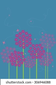Allium Flowers Landscape Vector