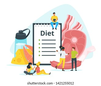 All-meat, carnivore diet plan vector web banner template. Zero carb dishes ingredients. Animal, dairy products eating. Dietitian consulting patients flat characters. Red meat, cheese, fish eating