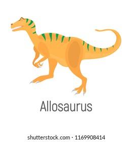 Allosaurus color vector icon. Flat design