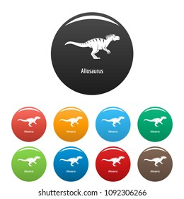 Allosaurus icon. Simple illustration of allosaurus vector icons set color isolated on white