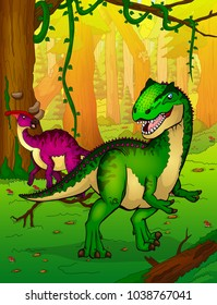 Allosaurus on the background of forest.