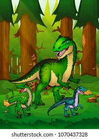 Allosaurus on the background of a forest.