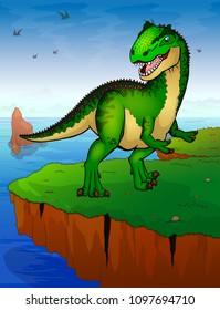 Allosaurus on the background of the sea. Vector illustration.