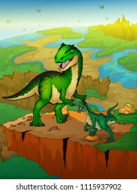 Allosaurus and raptor with landscape background. Vector illustration.