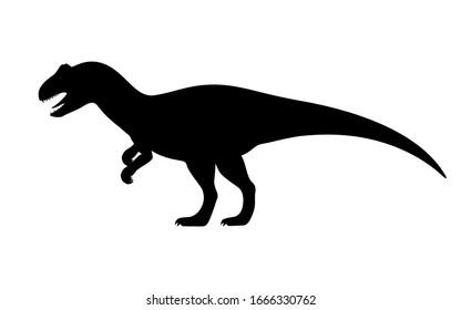 Allosaurus silhouette. Vector illustration black silhouette of a allosaurus dinosaur isolated on a white background. Dinosaur logo icon, side view profile.