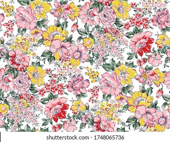allover vector flowers pattern on white background