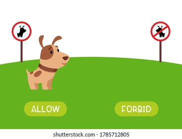"""Allow and forbid antonyms word card vector template. Flashcard for english language learning. Opposites concept. Signs """"dog walking allowed"""" and """"dog walking is prohibited""""."""