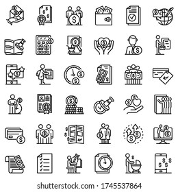 Allowance icons set. Outline set of allowance vector icons for web design isolated on white background