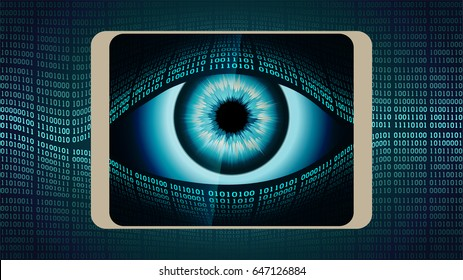 The all-seeing eye of Big brother in your smart phone, the concept of permanent global covert surveillance using mobile devices, security of computer systems and networks, privacy