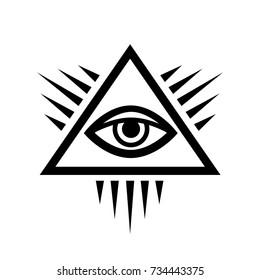All-Seeing Eye of God  (The Eye of Providence | Eye of Omniscience | Luminous Delta).  Ancient mystical sacral symbol of Illuminati and Freemasonry.