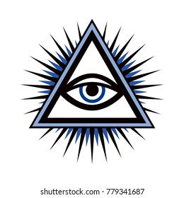 All-Seeing Eye of God (The Eye of Providence   Eye of Omniscience   Luminous Delta   Oculus Dei).  Ancient mystical sacral symbol of Illuminati and Freemasonry.