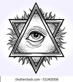 All-seeing eye is on the crossing of two traingles with flowers.All seeing eye pyramid symbol. Freemason and spiritual, religion, spirituality, alchemy, occultism, tattoo art. Vector illustration.