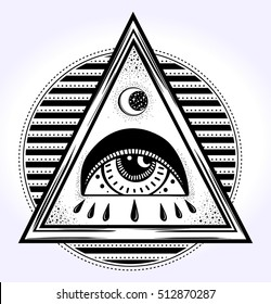 All-seeing eye is on the traingle. All seeing eye pyramid symbol. New World Order.Freemason and spiritual, religion, spirituality, alchemy, occultism, tattoo art. Vector illustration.