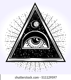 All-seeing eye is on the traingle with a starninght sky beling of which the rays of the sun. Religion philosophy, spirituality, occultism, chemistry, science, magic. Isolated vector illustration.