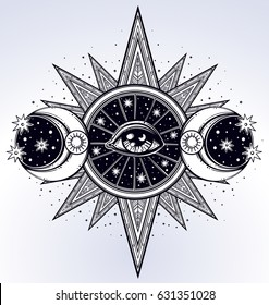 All-seeing eye is on the traingle with a starninght sky beling of which the rays of the sun. Religion philosophy, spirituality, occultism, chemistry, science, magic.Isolated vector illustration.