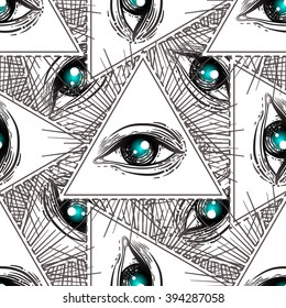 All-seeing eye seamless pattern. Hand drawn Eye symbol. Alchemy, religion,